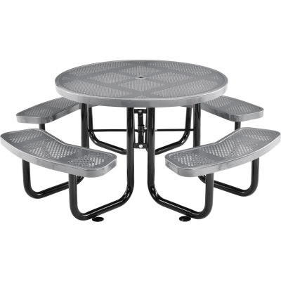 "Global Industrial™ 46"" Round Outdoor Steel Picnic Table, Perforated Metal, Gray"