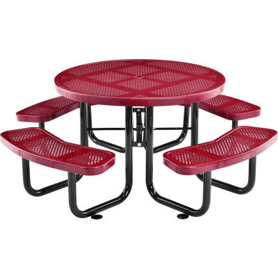 "Global Industrial™ 46"" Round Outdoor Steel Picnic Table, Perforated Metal, Red"