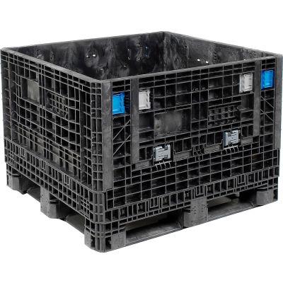 "ORBIS HDMP4845-34-22 BulkPak Folding Bulk Shipping Container - 48""L x 45""W x 34""H, 1800 Lb Cap Black"