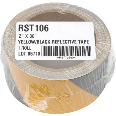 """INCOM® Safety Tape Reflective Striped Yellow/Black, 3""""W x 30'L, 1 Roll"""