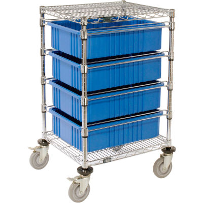 """Global Industrial™ Chrome Wire Cart With (4) 6""""H Blue Grid Containers 21"""" x 24"""" x 40"""""""