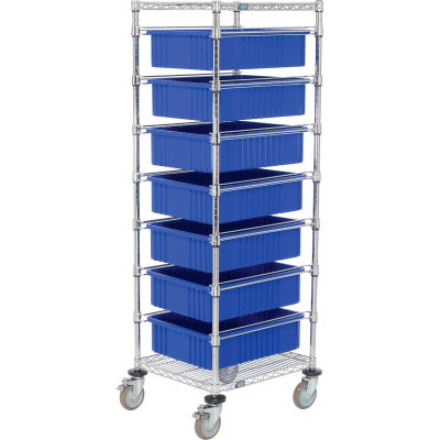 "Global Industrial™ 21X24X69 Chrome Wire Cart With 7 6""H Grid Containers Blue"