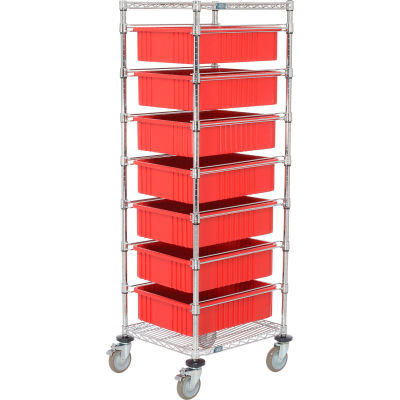 "Global Industrial™ Chrome Wire Cart 21 x 24 x 69 with 7 6""H Grid Containers Red"