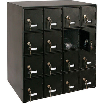 """United Visual Products 16 Door Cell Phone Locker With Key Locks, 22""""Wx16""""Dx26""""H, Black, Assembled"""