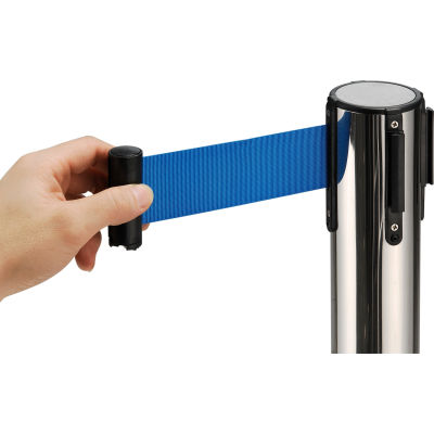 """Global Industrial™ Crowd Control Stanchion, 39""""H SS Post, 6-1/2' Blue Retractable Belt"""
