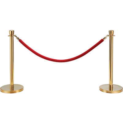 "Global Industrial™ Red Velour Rope 59"" With Ends For Portable Gold Post"