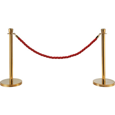 """Global Industrial™ Red Vinyl Braided Rope 59"""" With Ends For Portable Gold Post"""