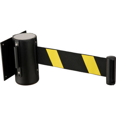 """Global Industrial™ Black Wall Mount 79"""" Black/Yellow Retractable Belt Barrier With Receiver"""