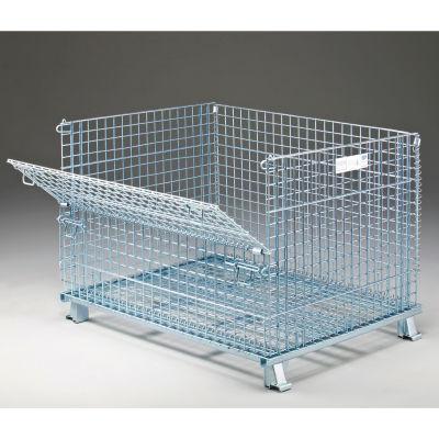 "Folding Wire Container GC404830S4 48x40x36-1/2 3000-4000 Lb Cap.Drop Gate 48"" Side"