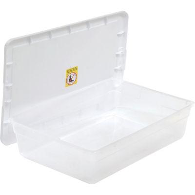 Sterilite 16558010 Clear Storage Tote With Lid 28 Quart 23x16-1/4x6 - Pkg Qty 10