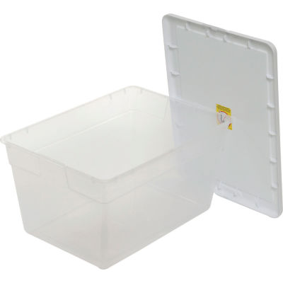 Sterilite 16598008 Clear Storage Tote With Lid 56 Quart 23x16-1/4x12-3/8 - Pkg Qty 8