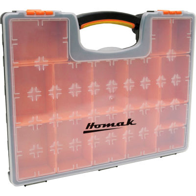"Homak HA01122238 Plastic Organizer With 22 Removable Bins, 16-1/2""L x 13""W x 2-3/8""H - Pkg Qty 16"
