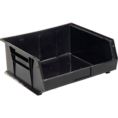 Global Industrial™ Plastic Stack and Hang Parts Storage Bin 16-1/2 x 14-3/4 x 7, Black - Pkg Qty 6