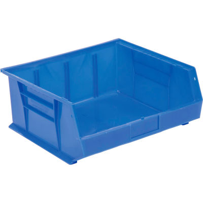 Global™ Hanging & Stacking Storage Bin 16-1/2 x 14-3/4 x 7, Blue - Pkg Qty 6