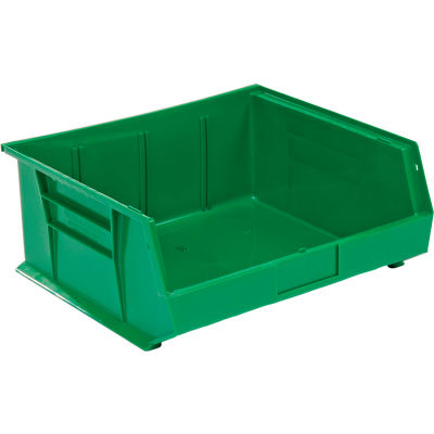 Global Industrial™ Plastic Stack and Hang Parts Storage Bin 16-1/2 x 14-3/4 x 7, Green - Pkg Qty 6