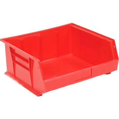 "Global Industrial™ Plastic Stack & Hang Bin, 16-1/2""W x 14-3/4""D x 7""H, Red - Pkg Qty 6"