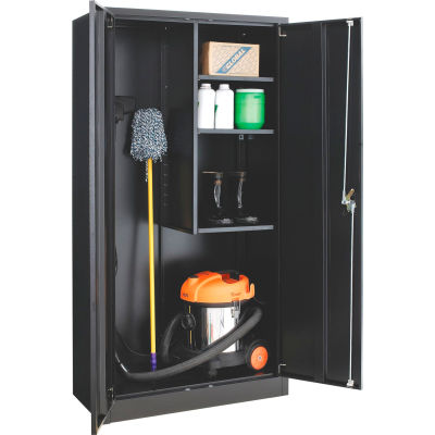 "Global Industrial™ Janitorial Cabinet Easy Assembly, 36""W x 18""D x 72""H, Black"