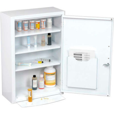"Global Industrial™ Medicine Cabinet with Pull-Out Shelf, 18""W x 8""D x 27""H, White"