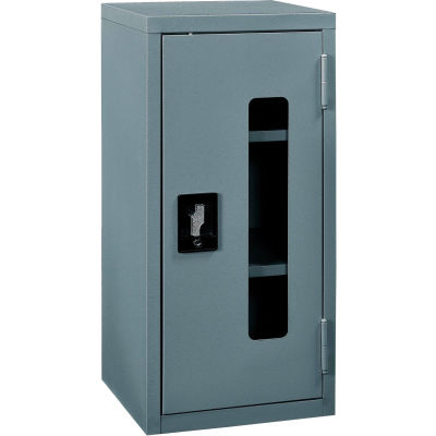 """Global Industrial™ Clear View Wall Storage Cabinet Assembled 13-3/4""""W x 12-3/4""""D x 30""""H Gray"""
