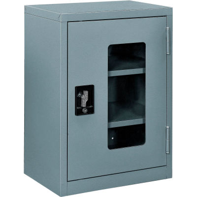 """Global Industrial™ Clear View Wall Storage Cabinet Assembled 18""""W x 12""""D x 26""""H Gray"""