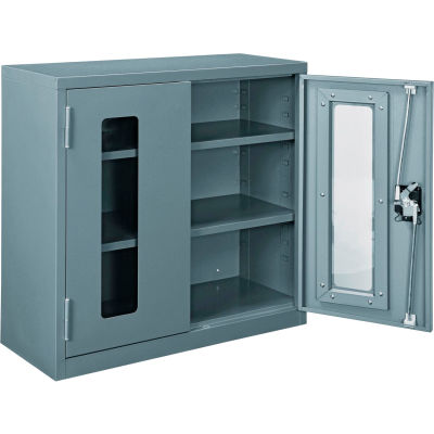 """Global Industrial™ Clear View Wall Storage Cabinet Assembled 30""""W x 12""""D x 30""""H Gray"""