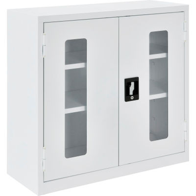 """Global Industrial™ Clear View Wall Storage Cabinet Assembled 30""""W x 12""""D x 30""""H Off White"""