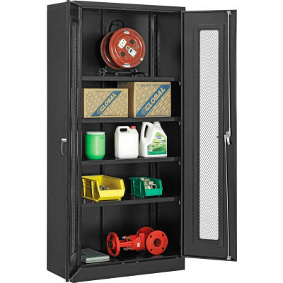 """Global Industrial™ Storage Cabinet With Expanded Metal Door Unassembled 36""""W x 18""""D x 78""""H BLK"""