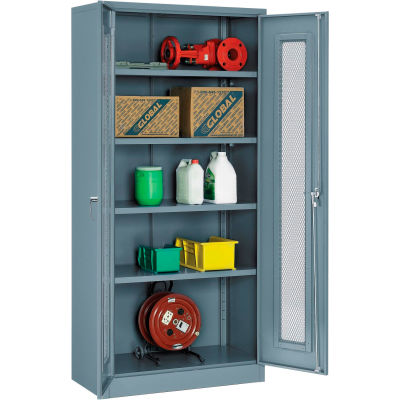 Global Industrial™ Storage Cabinet With Expanded Metal Door Unassembled 36x18x78 Gray