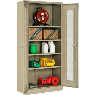 """Global Industrial™ Storage Cabinet With Expanded Metal Door Assembled 36""""W x 18""""D x 78""""H Tan"""