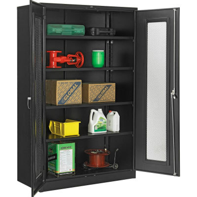 """Global Industrial™ Storage Cabinet With Expanded Metal Door Unassembled 48""""W x 24""""D x 78""""H BLK"""
