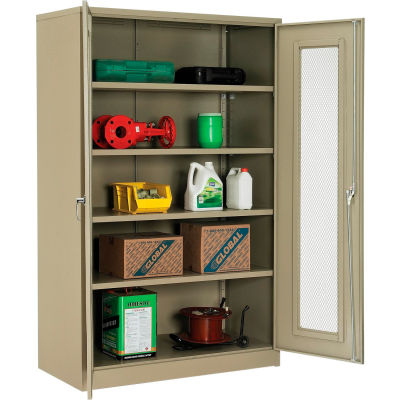 Global Industrial™ Storage Cabinet With Expanded Metal Door Assembled 48x24x78 Tan