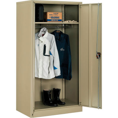 Global Industrial™ Wardrobe Cabinet Easy Assembly 36x24x72 Tan