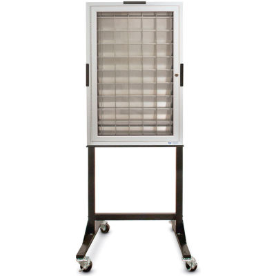 """Aluminum Key & Credit Card Cabinet Mobile Stand, 70 Pockets, 23""""Wx3-1/4""""Dx35""""H"""