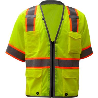 GSS Safety 2701, Class 3, Heavy Duty Safety Vest, Lime, L