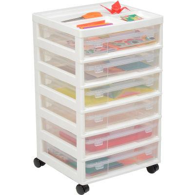 """IRIS 6 Drawer Cart - 15-7/8""""L x 14-5/16""""W x 26-13/16""""H - White / Clear - Pkg Qty 2"""
