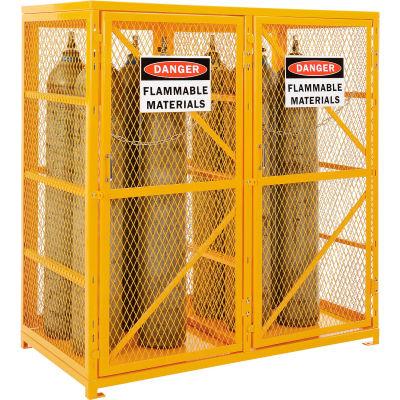 Global Industrial™ Cylinder Storage Cabinet DBL Door Vertical, 18 Cylinder Cap., Manual Close