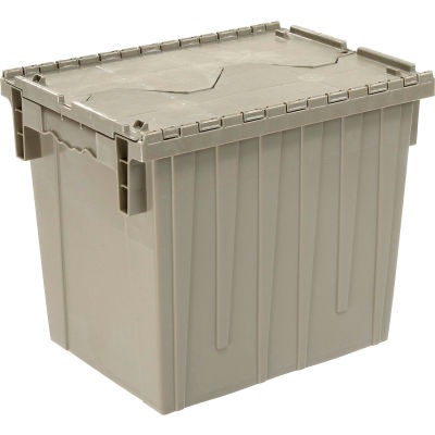 Global Industrial™ Plastic Attached Lid Shipping & Storage Container DC1813-15 18x13x15 Gray