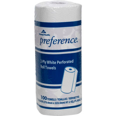 GP Preference White Perforated Roll Towel, 100 Towels/Roll, 30 Rolls/Case - 27300