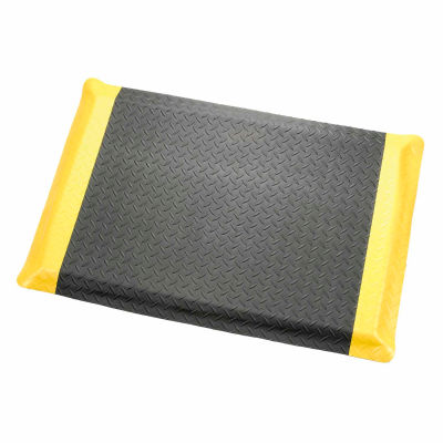 """Apache Mills Diamond Deluxe Soft Foot™ Mat 9/16"""" Thick 4' x Up to 75' Black/Yellow Border"""