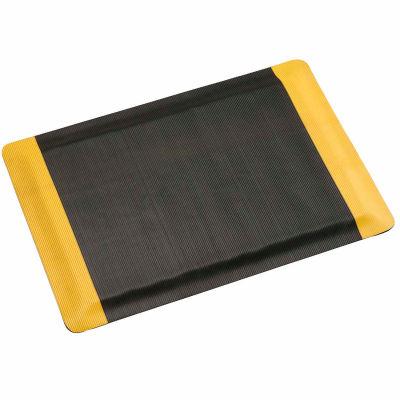 "Apache Mills Invigorator™ Corrugated Safety Mat 1/2"" Thick 4' x Up to 75' Black/Yellow Border"