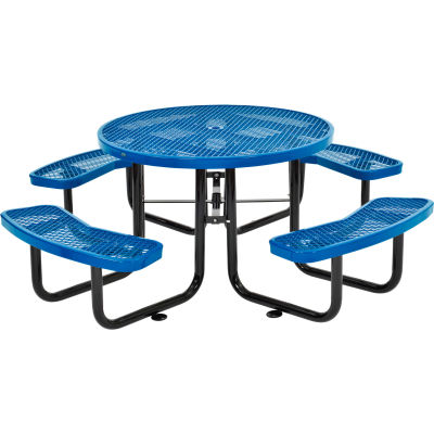 """Global Industrial™ 46"""" Round Outdoor Steel Picnic Table, Expanded Metal, Blue"""