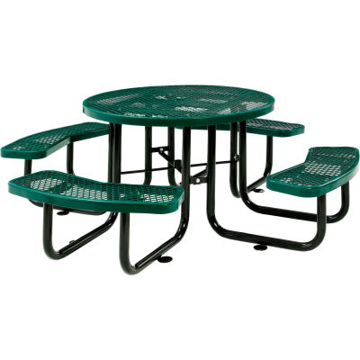 "Global Industrial™ 46"" Round Outdoor Steel Picnic Table, Expanded Metal, Green"