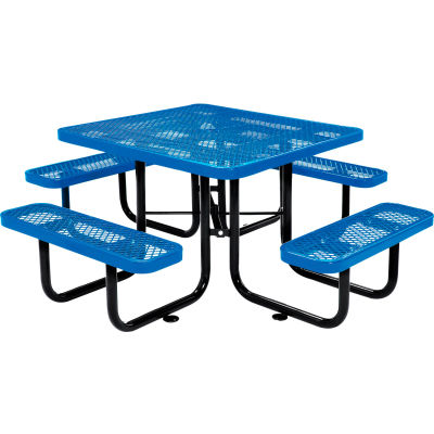 "Global Industrial™ 46"" Square Outdoor Steel Picnic Table, Expanded Metal, Blue"