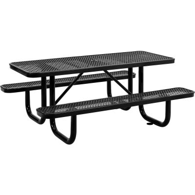 Global Industrial™ 6 ft. Rectangular Outdoor Steel Picnic Table, Expanded Metal, Black
