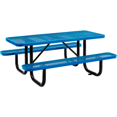 Global Industrial™ 6 ft. Rectangular Outdoor Steel Picnic Table, Expanded Metal, Blue