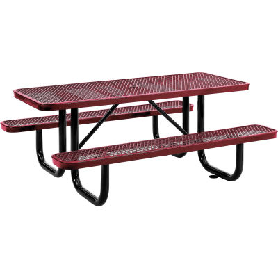 Global Industrial™ 6 ft. Rectangular Outdoor Steel Picnic Table, Expanded Metal, Red