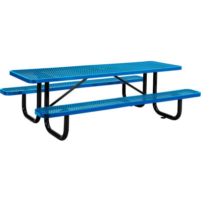 Global Industrial™ 8 ft. Rectangular Outdoor Steel Picnic Table, Expanded Metal, Blue