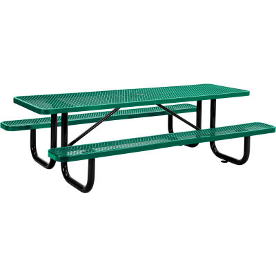 Global Industrial™ 8 ft. Rectangular Outdoor Steel Picnic Table, Expanded Metal, Green