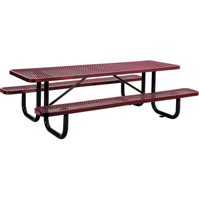 Global Industrial™ 8 ft. Rectangular Outdoor Steel Picnic Table, Expanded Metal, Red