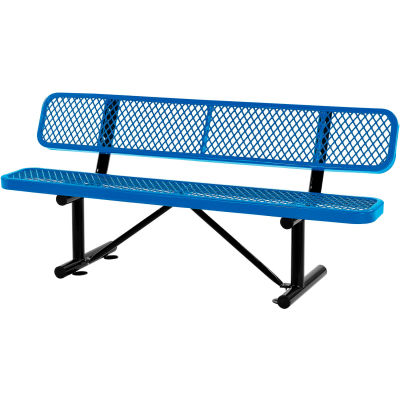 Global Industrial™ Outdoor Park Bench With Backrest, Expanded Metal, 6', Blue